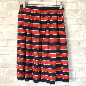 J Crew Silk Pleated Skirt Red Blue Size 2